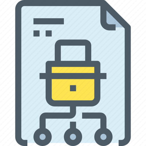 document, file, network, padlock, secure, security icon