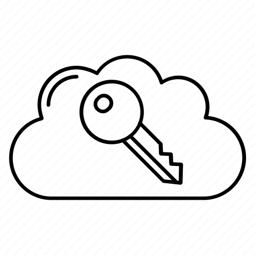 cloud, key, lock, protection, secure icon