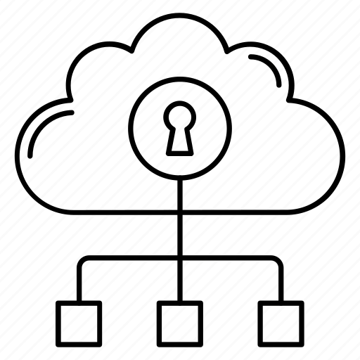 cloud, lock, network, protection, security icon