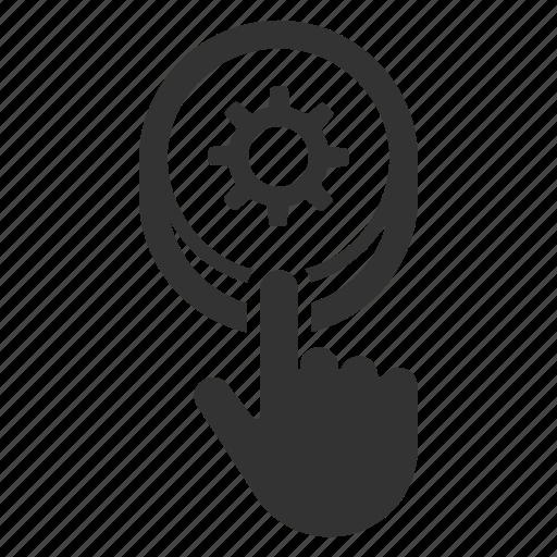 configuration, press button, push button, reset button, settings icon