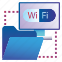 cloud, documents, folder, sharing, wifi icon