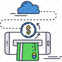 smartphone, money, transfer, online, credit card, payment, cloud icon