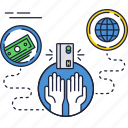 card, credit, globe, hands, money, payment, transfer icon