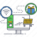 basket, gift, online, payment, shopping, wi-fi, wifi icon