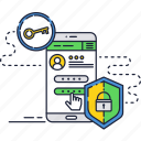 cyber, key, lock, mobile, screen, security, smartphone icon