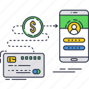 card, credit, mobile, money, online, payment, smartphone icon