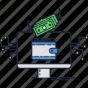 transfer, money, bill, dollar, internet, wallet, online icon