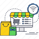 computer, internet, online, pack, shopping, store, wifi icon