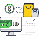 dollar, internet, online, payment, shopping, store, transfer icon
