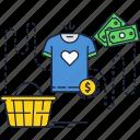 shopping, money, bill, dollar, t-shirt, online, basket icon