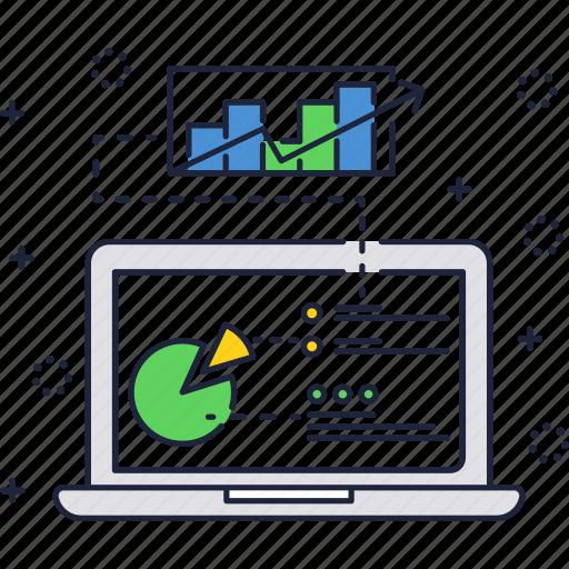 chart, finance, laptop, pie, report, sales icon