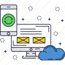 cloud, computer, display, promotion, refresh, screen, smartphone icon