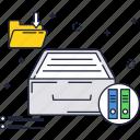archive, box, files, line, storage, thin icon