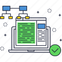 algorithm, laptop, network, service, technology, website icon