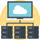 big data, distributed database, server administration, server hosting, web hosting services icon