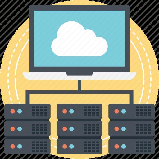 big data, distributed database, server administration, server hosting, web hosting services icon