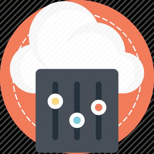 cloud application, cloud preferences, cloud services, cloud settings, network interface controller icon