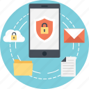 data protection, mobile data protection, personal data security, personal information security, smartphone icon