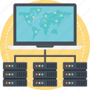 global network, global server, hosting server, internet server icon