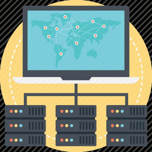 global network, global server, hosting server, internet server icon