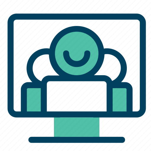 computer, group, interview, meeting, online icon