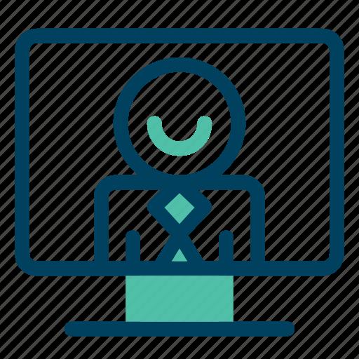 computer, interview, meeting, online, work icon