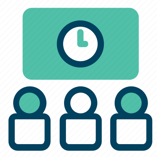 clock, meeting, online, screen, team, waiting icon