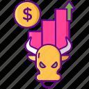 bull, exchange, finance, market, stock icon