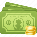 banknotes, bills, cash, coins, dollar, money icon