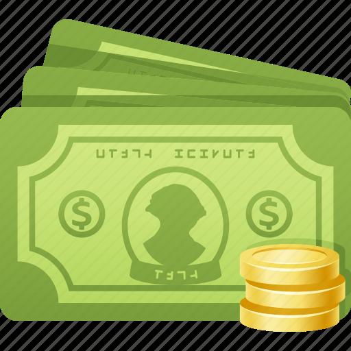 banknotes, bills, cash, coins, dollar, money icon