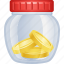 coins, investment, jar, money, savings icon