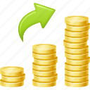 coins, graph, investment, profit, savings, stack of coins, wealth icon