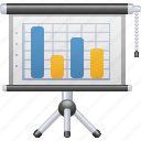 chart, graph, investment, presentation, projection screen, report icon