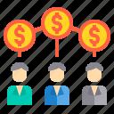 business, finance, investment, money, team, work icon
