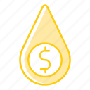 business, drop, finance, investment, money, resources, water icon