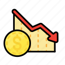 analytics, chart, currency, dollar, drop, investment