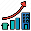 business, graph, growth, investment, property, report icon