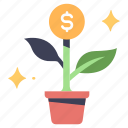 business, growth, investment, money, plant, profit, success icon