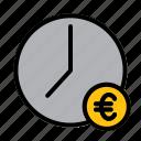 clock, money, euro, time, management, schedule