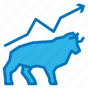 bull, investment, market, stock, up icon