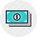 banknotes, cash, dollars, finance, flow, money, stack icon