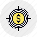 aim, capital, finance, investment, money, target, venture icon