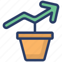 analytics, business development, financial growth, investment growth, money growth icon