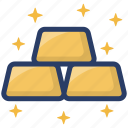 asset, capital, gold, gold bar stack, gold stak icon