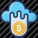 bitcoin, blockchain, cloud computing, cloud crypto, cryptocurrency, finance icon