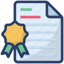 authorizing document, award certificate, certificate, credential, degree, diploma icon