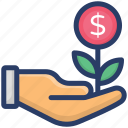 business development, financial growth, investment, money growth, money plant icon