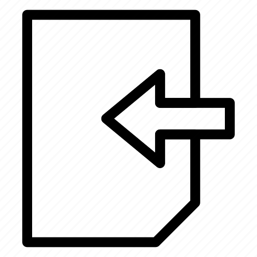 arrow, back, document, file icon