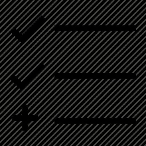 checklist, checkmark, document, option icon