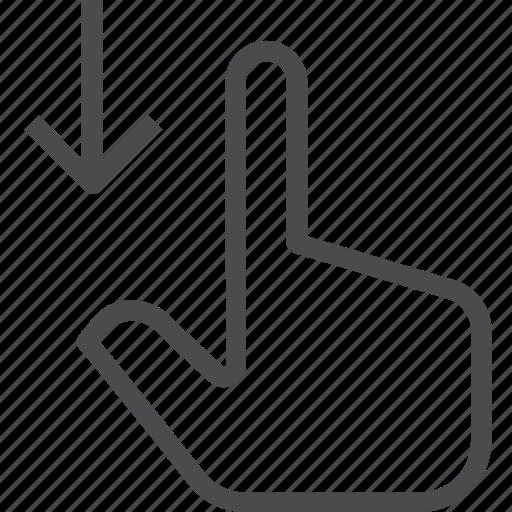 down, finger, gesture, hand, interaction, swipe icon